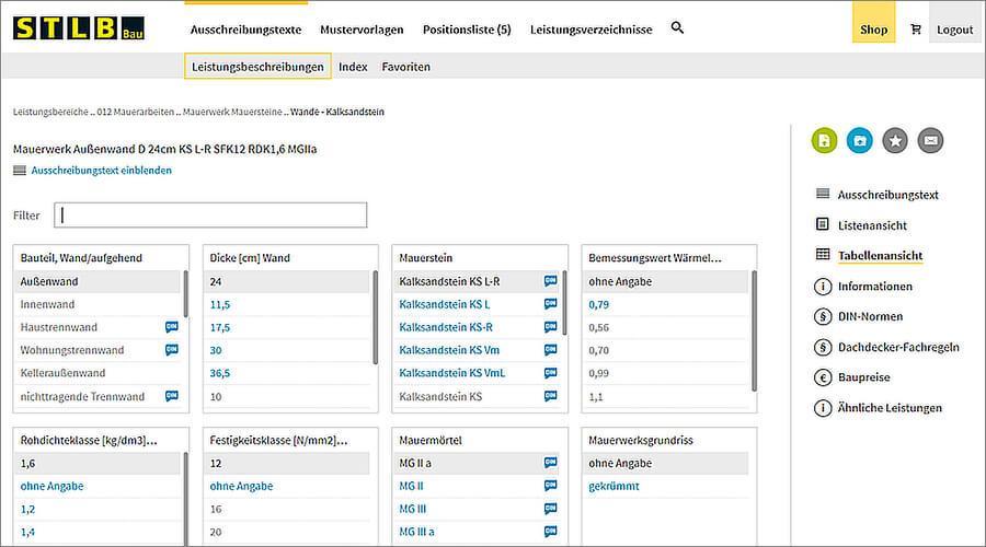 Beispiele STLB-Bau Online